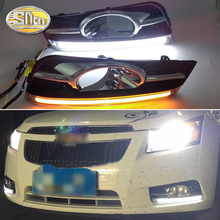 цена на For Chevrolet Cruze 2009 ~ 2014 Daytime Running Light DRL LED Fog Lamp Cover With Yellow Turning Signal Functions