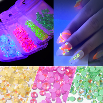 1pack Luminous Crystal Mixed Size SS6-SS20 Nail Art Rhinestone Decorations 3D Glitter Diamond Jewelly Glow In The Dark Ornaments