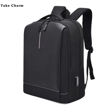 Faixa reflexiva cor sólida homem oxford impermeável casual preto mochila de carregamento mochila de negócios