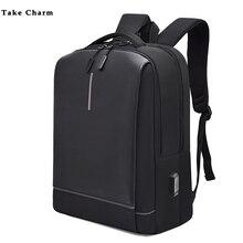 Yansıtıcı şerit düz renk erkekler Oxford su geçirmez rahat siyah sırt çantası şarj iş sırt çantası