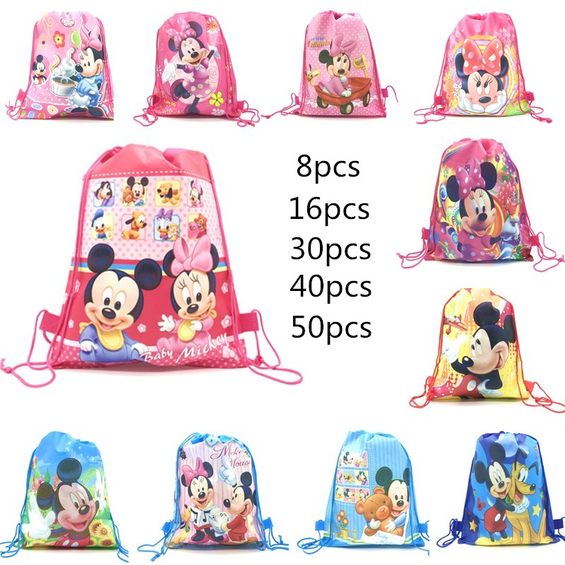 Disney The Red Minnie Mickey Mouse Birthday Party Gifts Non-woven Drawstring Bags Kids Boy Girls Favor Swimming School Backpacks