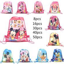 Disney-bolsas de tela con cordón para niños y niñas, mochilas escolares de tela no tejida con diseño de minnie, mickey Mouse, ideal para fiestas de cumpleaños