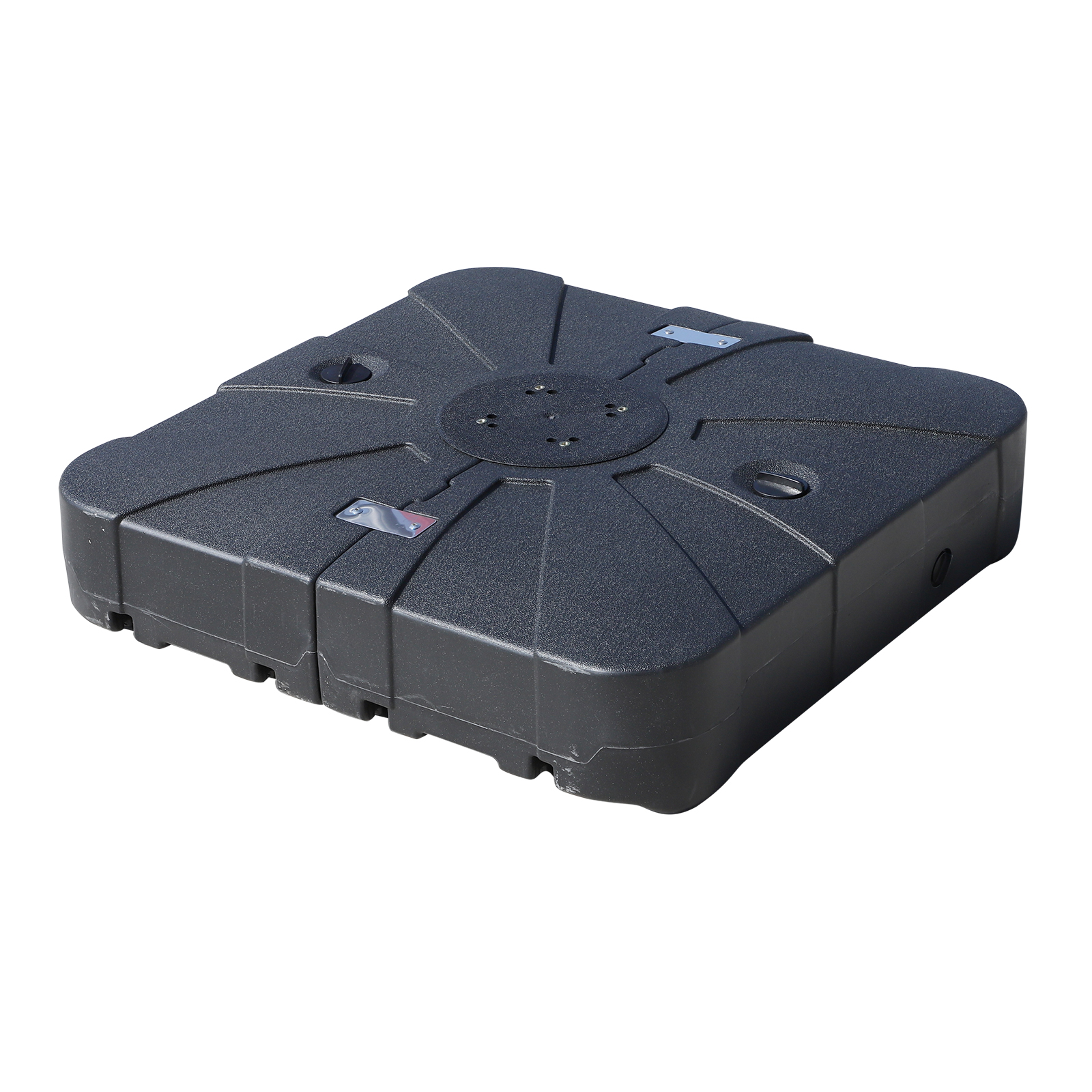Outsunny Umbrella Base Fillable With Water And Sand 4 Wheels Max. 125Kg Outdoor HDPE 84x84x19 Cm Black