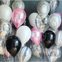 16pcs 10 polegada Rosa Branco Prateado Latex Balões Festa Feliz Aniversário Decoração Do Casamento Balloon Toy Kids Air Bolas Globos