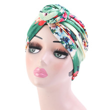Women Ethnic Print Vortex Flower Hair Turban Cap Donut Retro Muslim Hat Headband Chemotherapy Bandanas Headwear Hijab