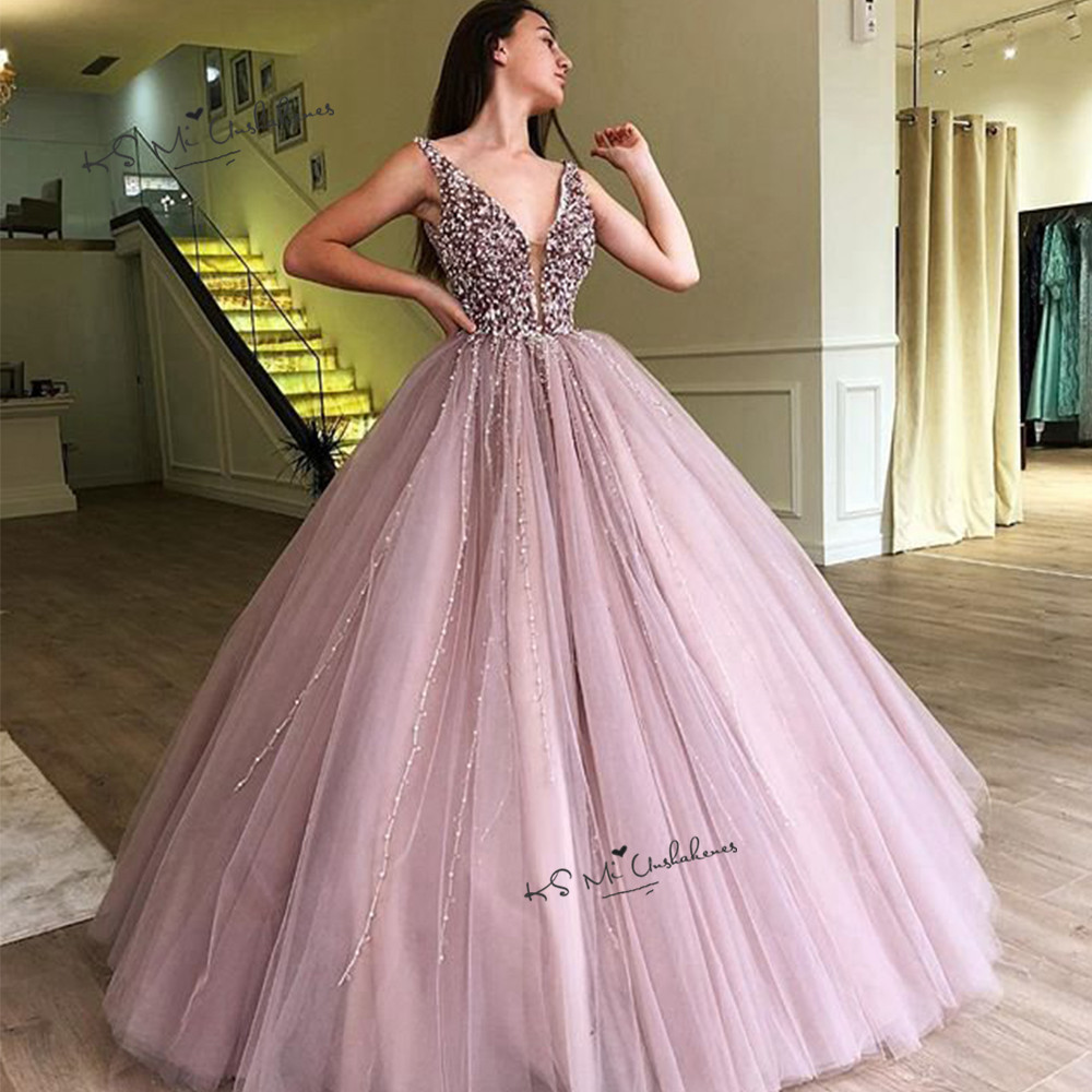 Pink Masquerade Quinceanera Dresses Ball Gowns Pearls Dress for 15 Years Vestidos Debutante Long Prom Party Dress 2020