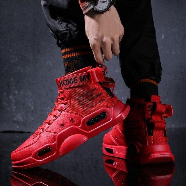 Zapatillas deportivas de tendencia de fondo rojo para hombre, zapatos informales de Hip Hop, tenis, para adultos, otoño 2021 5