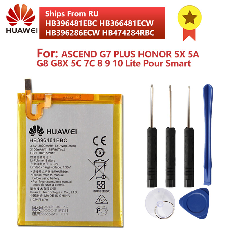 Original HB396481EBC Phone Battery For Huawei ASCEND G7 PLUS HONOR 5X 5A G8 G8X 5C 7C 8 9 10 Lite Pour Smart 2019 Y5 C8816
