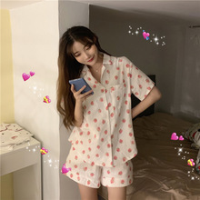 Photo Shoot Net Price New Style Sweet Cute Short-sleeved Top Strawberry Pajamas Suit