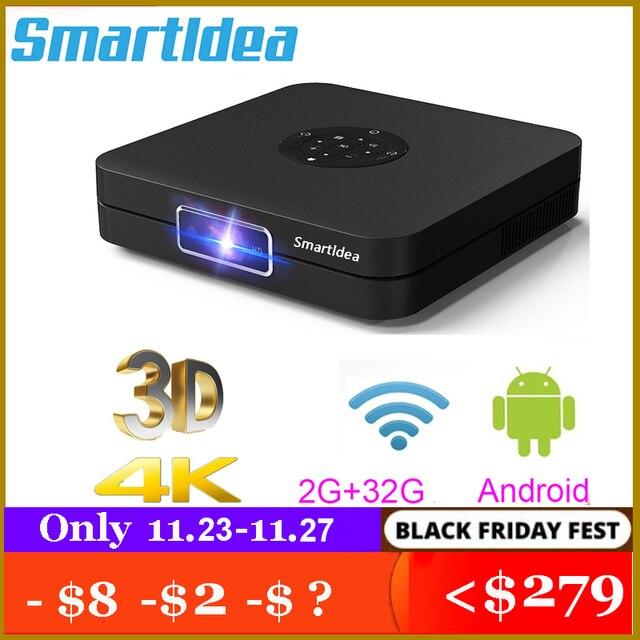 Smartldea K1 HD DLP מקרן אנדרואיד 2G RAM 32G ROM 4K 3D בהירות גבוהה מקרן 5G wifi airplay וידאו משחק proyector