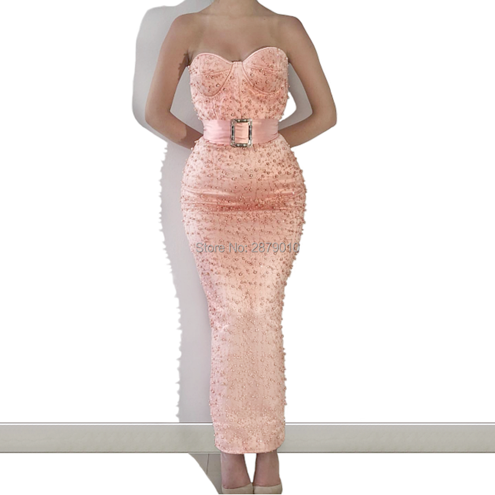 2019 Peach Evening Dress Women Dress Sweetheart Strapless Mermaid Satin Beaded Sequined Party Sequins Ankle-Length Custom Arabic thumbnail