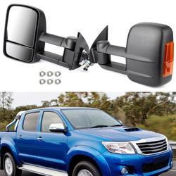 Areyourshop 2 sztuk wysuwane holowanie lusterka boczne dla Toyota HILUX 2005 2015 czarne holowanie lusterka kierunkowskazy akcesoria samochodowe w Lusterko i pokrowce od Samochody i motocykle na