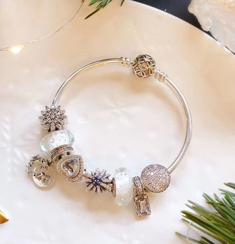 High Quality Reproduction 1:1 100%925 Pure Silver White Glaze Beads Snow Bracelet Free Shipping