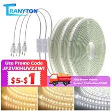 220V Светодиодные ленты 120 светодиодов 8 Вт/м со штепсельной вилкой европейского стандарта и переключатель не ослепительно гибкий светодиодн...