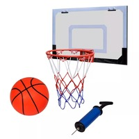 vidaXL Indoor Mini Basketball Hoop Set with Ball and Pump Stable Rim Backboard with Foam Padding Durable Net Basketball 5 Sets