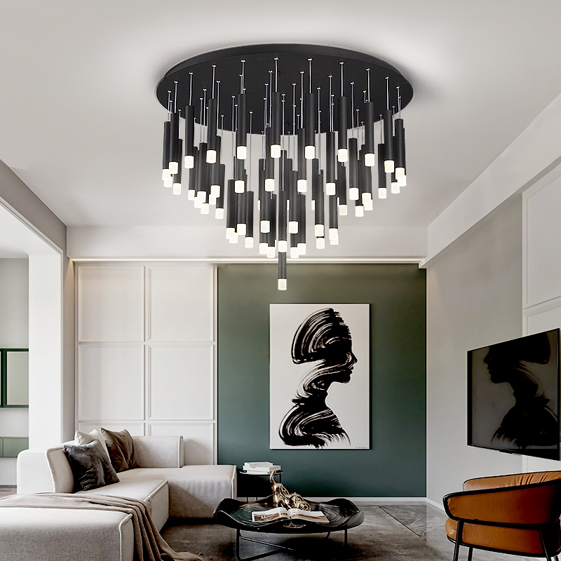 LED Modern Chandelier For Designer Dining Living Room Matte Black For Bedroom Decoration Multi-head Lighting Hanging Fixtrues