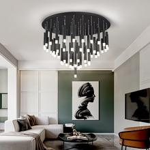 LED מודרני נברשת עבור מעצב אוכל סלון מט שחור עבור חדר שינה קישוט רב ראש תאורת תליית Fixtrues