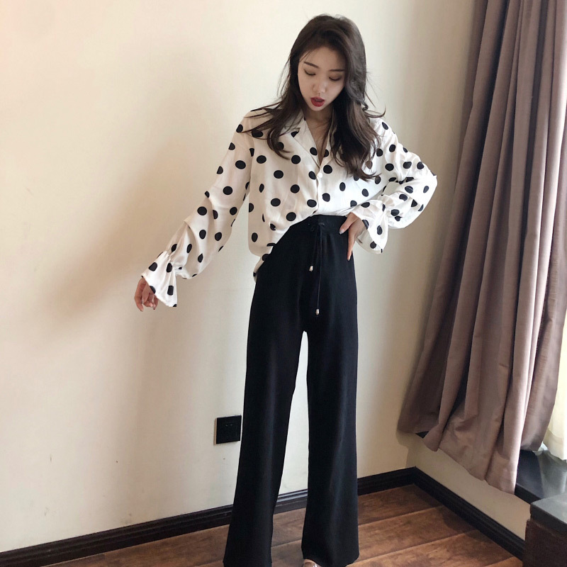 Early Autumn Online Celebrity Tops 2019 New Style Hong Wei Yang Gas By Age Elegant Two-Piece Set Pants Women's Early Autumn Matu