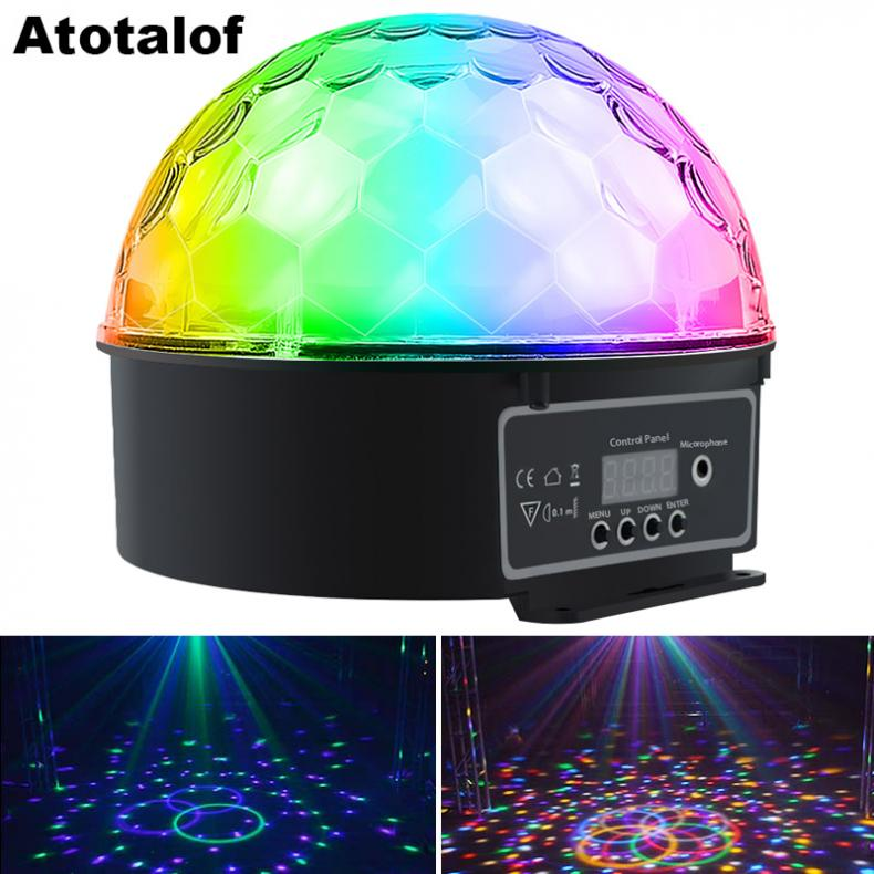 9W 9 Colors Rotating LED Stage Light Big Crystal Ball Support Auto / Voice / Remote / DMX512 Control For KTV / Disco