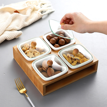 Dried fruit plate with lid ceramic snack snack plate fruit plate grid plate creative afternoon nut basin leisure basket LB32606