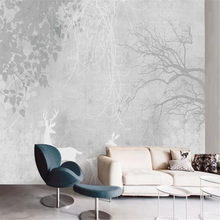 Milofi custom large wallpaper mural hand-painted abstract art leaf plant forest bedroom living room background wall(China)