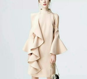 Женское облегающее платье-водолазка, элегантное однотонное вечернее мини-платье с рюшами и расклешенными рукавами, клубный сарафан на день...