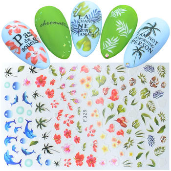 цена на 1pcs Ultra Thin Adhesive Nail Decals Coconut Tree Dolphin Summer Style Nail Art Stickers Decorations