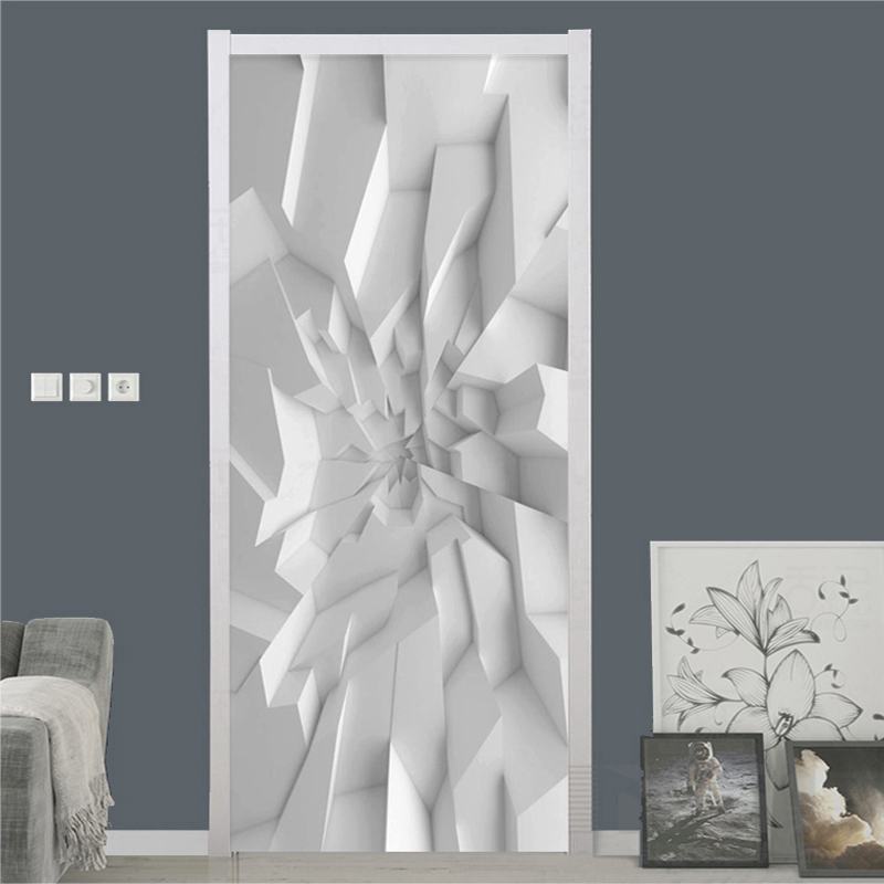 Modern 3D Stereo Geometric Wallpaper Abstract Art Door Sticker Living Room Bedroom Creative DIY Home Poster PVC Waterproof Decal