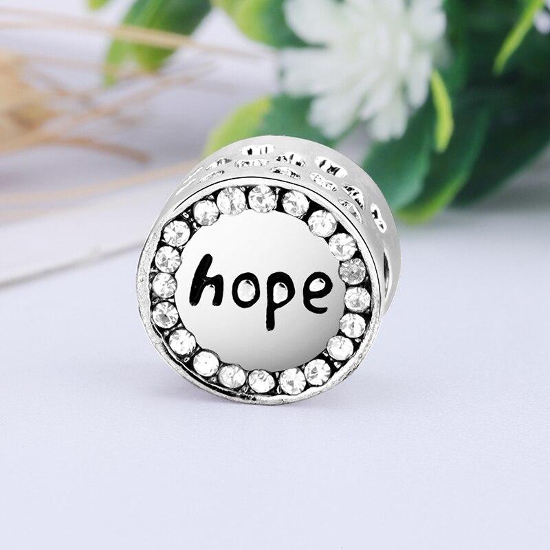 Новинка, сплав, бисерная подвеска в виде сердца для семьи, мамы, папы, любви, подходит для Пандоры, браслет, ожерелье, сделай сам, Женские Ювелирные изделия - Цвет: Hope