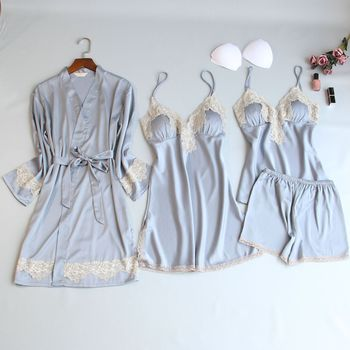 Women Pajamas Sets Satin Sleepwear Silk 4 Pieces Nightwear Pyjama Spaghetti Strap Lace Sleep Lounge Pajama With Chest Pads 1