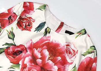 Designerska sukienka damska wysokiej jakości pół rękawa piwonia kwiatowy ołówek z nadrukiem sukienka Plus rozmiar Boutique Vestido tanie i dobre opinie CN (pochodzenie) Jesień Z okrągłym kołnierzykiem REGULAR NONE Na co dzień Powyżej kolana mini COTTON spandex Dla osób w wieku 35-45 lat