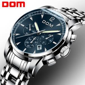 Image 2 - 2018 nowe zegarki DOM mężczyźni zegarek luksusowy chronograf mężczyźni sport zegarki wodoodporny pełny stalowy zegarek kwarcowy męski Relogio M 75D 1MPE