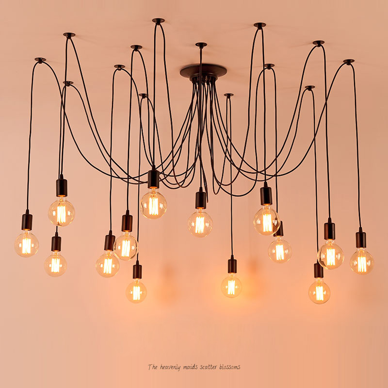 DIY Vintage Nordic Spider Chandelier Multiple Adjustable Retro Hanging Lamps Loft Classic Decorative Fixture Lighting Led Home