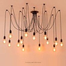 DIY Vintage Nordic pająk żyrandol wiele regulowanych Retro wiszące lampy Loft klasyczne oświetlenie dekoracyjne oprawa Led domu