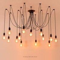 Diy vintage nordic aranha lustre múltipla ajustável retro pendurado lâmpadas loft clássico luminária decorativa iluminação led para casa