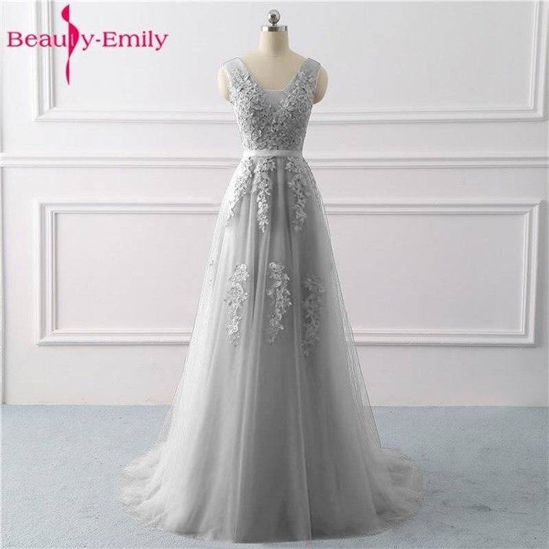 Beauté Emily dentelle Appliques col en v robes de soirée longues 2019 mariée Sexy sans manches formelle fête robes de bal personnalisé