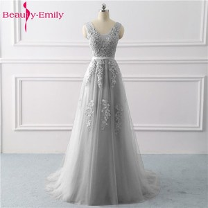 Image 1 - Beauty Emily Lace Appliques V neck Long Evening Dresses 2020 Bride Sexy Sleeveless Formal Party Prom Dresses Custom