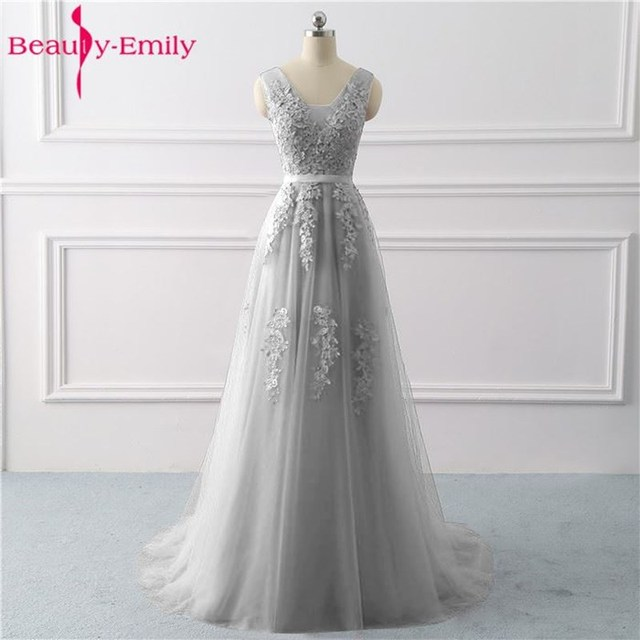 Beauty Emily Lace Appliques V neck Long Evening Dresses 2020 Bride Sexy Sleeveless Formal Party Prom Dresses Custom