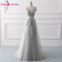 Uroda Emily koronkowe aplikacje dekolt długie suknie wieczorowe 2020 Bride Sexy bez rękawów formalne sukienki na imprezę bal niestandardowe