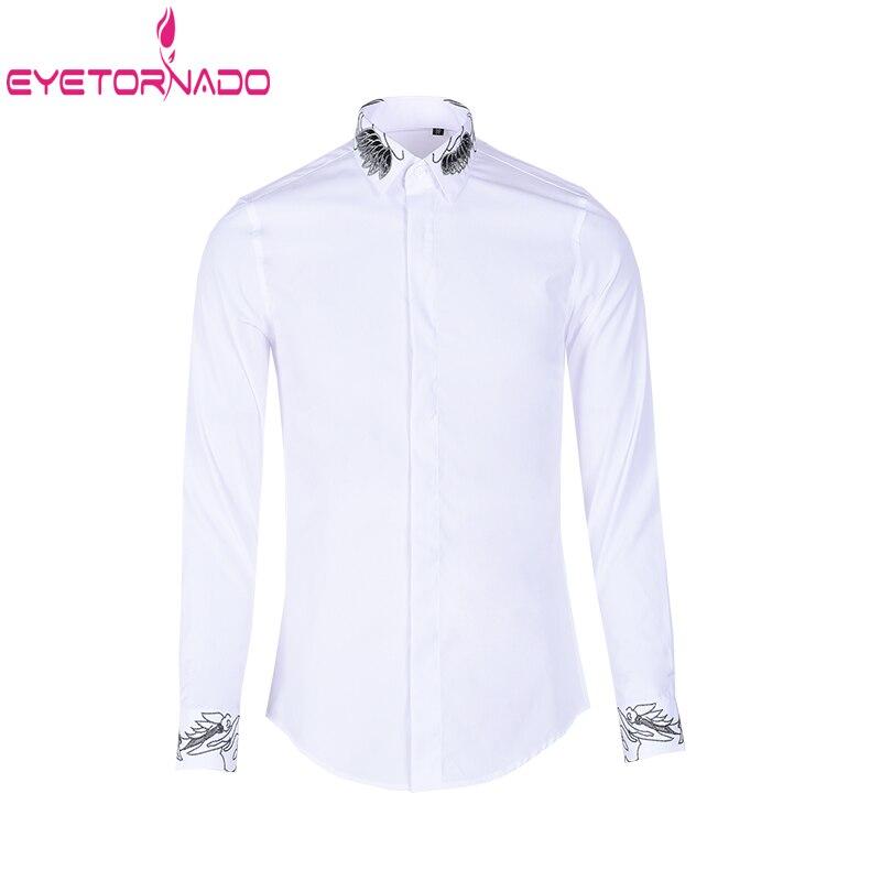 Рубашка с цветочной вышивкой, мужская деловая рубашка с длинными рукавами, рубашки для жениха, белая, черная приталенная рубашка для свадьб...
