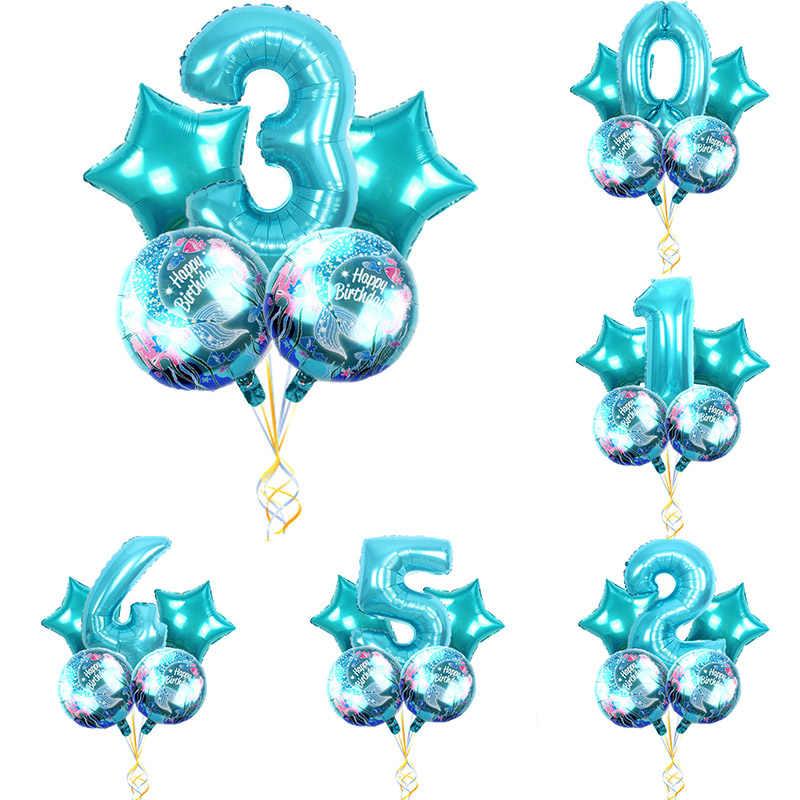 Polegada rodada Sereia Balões Foil 32 18 polegada Número azul conjunto Menina Feliz Presente de Aniversário Do Partido de chuveiro surpresa latex globos