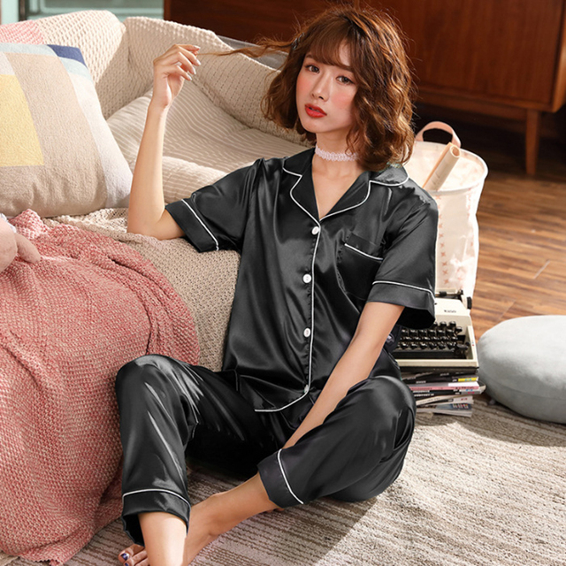 JULYS SMTWB 2 Pieces Women Pajamas Set Faux Silk Sleepwear Satin Autumn Short Sleeve Long Pants Sleepwear Pajamas Suit Homewear