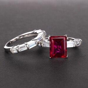 Image 5 - PANSYSEN 브랜드 리얼 925 스털링 실버 8x10MM 에메랄드 만든 moissanite 보석 반지 결혼 기념일 파인 쥬얼리 반지