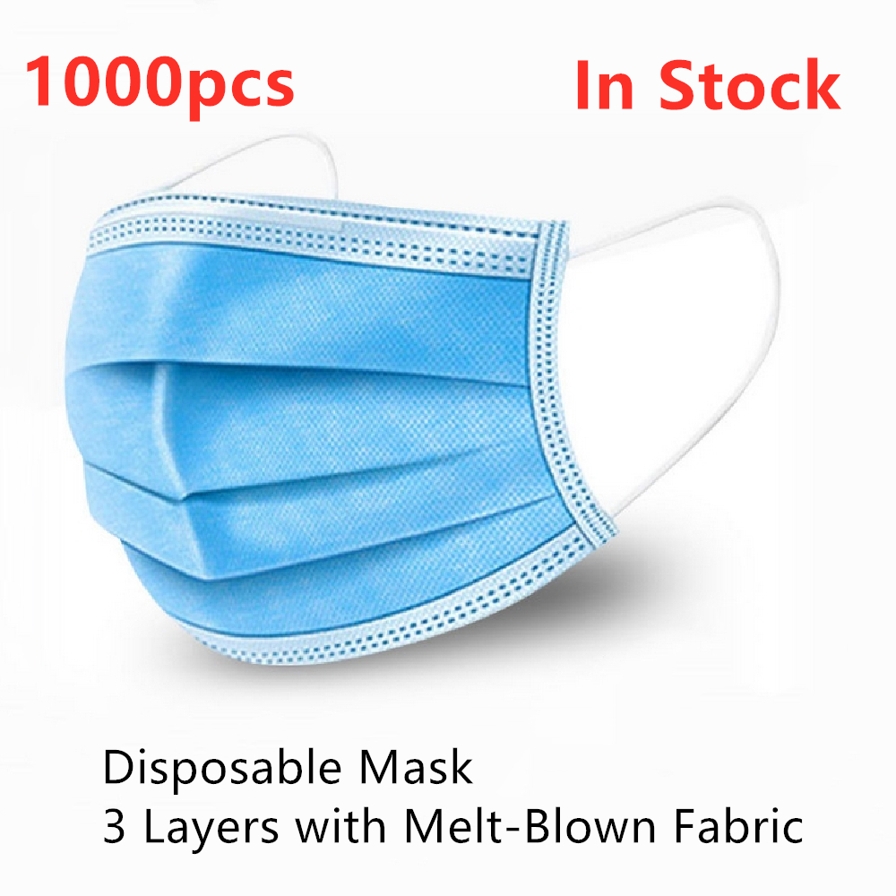 Disposable Mask Anti Dust Gas Pollution Flu Virus Meltblown Cloth Fabric Face Mouth Mask Blue Kid Men Women PM25 PM2.5 Wholesale