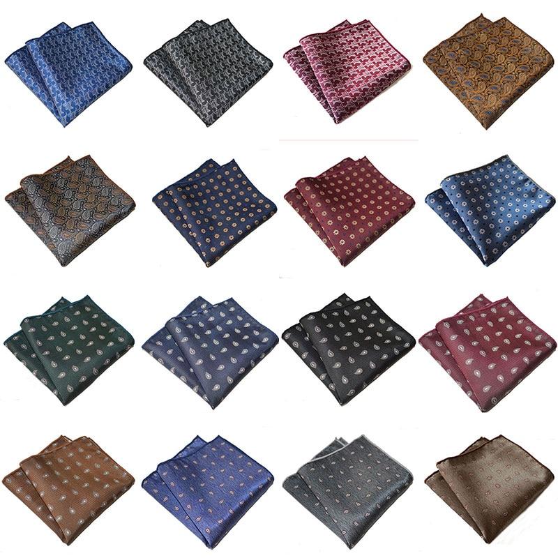 Vintage Men's Pocket Square Handkerchief Floral Printed Party Wedding Polyester Pocket Square Towel Business Suit Accessories