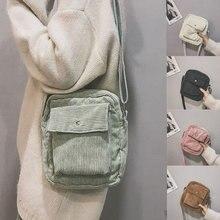 Вельветовая сумка через плечо в студенческом стиле мини женская