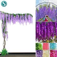 12 pçs wisteria flores artificiais videira guirlanda casamento arco decoração plantas falsas folhagem rattan arrastando falso flores hera parede