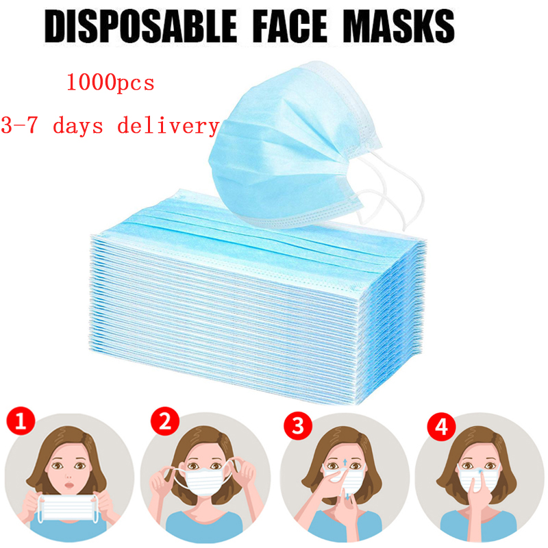1000pcs Mask Disposable 3 Layers Filter Dustproof Earloop Non Woven Mouth Masks 360 ° Folding Civil Masks Blue Face Mask