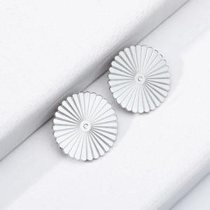 Round Sun Design Earring Studs Elegant F
