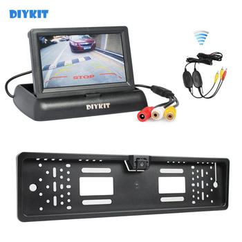 DIYKIT Wireless Foldable 4.3inch LCD Display Car Monitor + Waterproof European Car License Plate Frame Rear View Backup Camera